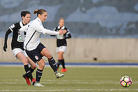 20170129 - LILLE , FRANCE : LOSC's Maud Coutereels (R) and Juvisy's Annaig Butel (L) pictured during women soccer game between the women teams of Lille OSC and FFC Juvisy Essonne  during the 1/16 final for the 2017 French Cup at stade Lille Metropole , Sunday 29th of January ,  PHOTO Dirk Vuylsteke | Sportpix.Be