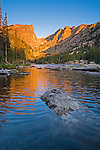 Dream Lake at sunrise in Rocky Mountain National Park, Colorado.