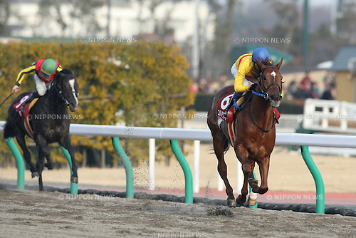 (R-L) Copano Rickey (Yutaka Take), Solor ( Dario Vargiu),<br /> JANUARY 25, 2015 - Horse Racing :<br /> Copano Rickey ridden by Yutaka Take wins the Tokai TV Hai Tokai Stakes at Chukyo Racecourse in Aichi, Japan. (Photo by Eiichi Yamane/AFLO)