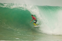 """SUPERTUBOS, Peniche/Portugal (Monday, October 17, 2011) Alejo Muniz (BRA). – The Rip Curl Pro Portugal stormed through 21 heats of competition today as the primary site of Supertubos delivered flawless six-to-eight foot (2 – 2.5 metre) barrels from sun up to sun down.. .Event No. 9 of 11 on the 2011 ASP World Title Series, the Rip Curl Pro Portugal enjoyed an historic day of action with the world's best surfers posting near-perfect scores throughout the day as Supertubos delivered world-class action.. .Julian Wilson (AUS), 22, 2011 ASP Top 34 rookie, went blow-for-blow against compatriot Kai Otton (AUS), 31, in the heat of the event today. Otton posted a near perfect 9.97 out of a possible 10 on his opening ride and backing it up with an excellent 8.43 to put the youngster on the back foot early on. However, Wilson would answer back in champion fashion, netting a 9.43 early in the heat before pulling into a cavernous bomb for a 9.70 and the heat win.. """"That was an amazing heat,"""" Wilson said. """"My hat goes off to Otto (Kai Otton) as he was getting some ridiculous barrels and really put the pressure on me early. I've been watching the conditions all day long and have been trying not to froth out too hard, but they're just so perfect. It's truly Dream Tour stuff out there today."""" .Bede Durbidge (AUS) scored the contest's first perfect 10 point ride against Mick Fanning (AUS) in the last heat of the day. Durbidge advanced over Fanning to Round Four. Photo: joliphotos.com"""