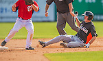 9 March 2013: Miami Marlins infielder Danny Black slides into second during a Spring Training game against the Washington Nationals at Space Coast Stadium in Viera, Florida. The Nationals edged out the Marlins 8-7 in Grapefruit League play. Mandatory Credit: Ed Wolfstein Photo *** RAW (NEF) Image File Available ***