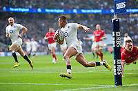 Anthony Watson of England runs in a try in the first half. RBS Six Nations match between England and Wales on March 12, 2016 at Twickenham Stadium in London, England. Photo by: Patrick Khachfe / Onside Images