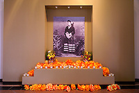 Photograph of Mexican opera singer Angela Peralta and Day of the Dead altar, Teatro Angela Peralta Theater , Mazatlan, Mexico