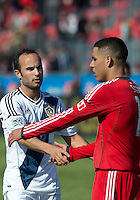 30 March 2013:Los Angeles Galaxy midfielder Landon Donovan #10 shakes hands with Toronto FC midfielder Luis Silva #11 at the end of an MLS game between the LA Galaxy and Toronto FC at BMO Field in Toronto, Ontario Canada..The game ended in a 2-2 draw..