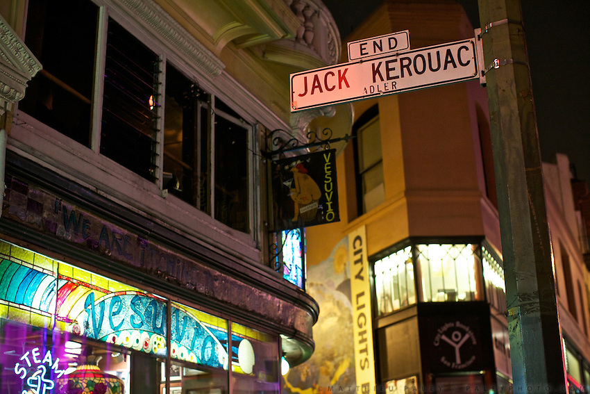 "Streets of San Francisco..In and near Jack Kerouac Alley (formerly Adler Alley or Adler Place), a one-way alleyway in Chinatown...The alley is named after Jack Kerouac, a Beat Generation writer who used to hang in the Vesuvio pub and bookstore, (City Lights Bookstore, owned by Lawrence Ferlinghetti) adjacent to the alley..The alley is now known for its engraved Western and Chinese poems, including poets such as John Steinbeck, Maya Angelou, and Kerouac himself. A ceremony was held in April 2007 to celebrate the reopening of the alley..A 4-weeks road trip across the USA, from New York to San Francisco, on the steps of ack Kerouac's famous book ""On the Road"".  Focusing on nomadic America: people that live on the move across the US, out of ideology or for work reasons."