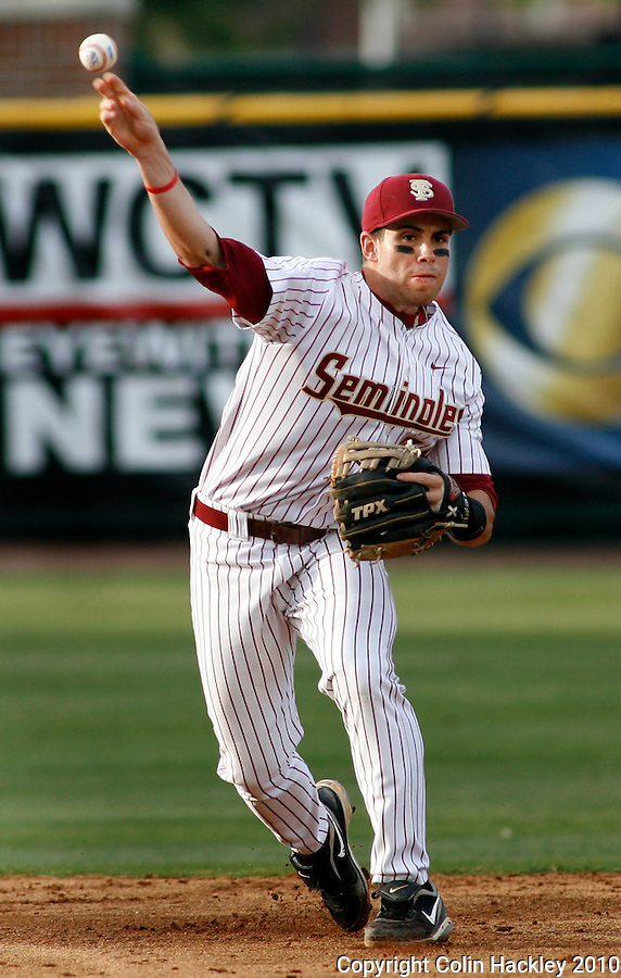 TALLAHASSEE, FLA 4/23/10-FSU-MIAMI BASE10 CH-Florida State's Stephen Cardullo fires to first during third inning action against Miami Friday at Dick Howser Stadium in Tallahassee. The Hurricanes beat the Seminoles 6-5...COLIN HACKLEY PHOTO