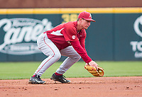 Rhode Island vs Arkansas Razorbacks Men's Baseball – Jax Biggers of Arkansas makes the stop, throws to make an out against Rhode Island at Baum Stadium, Fayetteville, AR, Sunday, March 12, 2017.  © 2017 David Beach