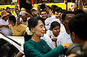 Aung San Suu Kyi arrives at the NLD headquarter for a meeting with all the elected MPs. She is always cheered by large crowds. Yangon, Myanmar. 2012