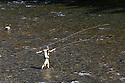 WA09139-00...WASHINGTON - Fly fishing on the Middle Fork of the Snoqualme River near North Bend. (MR# J9)