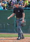 2 August 2016: Umpire Louie Krupa makes a call at home plate during a game between the Vermont Lake Monsters and the Connecticut Tigers at Centennial Field in Burlington, Vermont. The Tigers defeated the Lake Monsters 7-1 in NY Penn League play.  Mandatory Credit: Ed Wolfstein Photo *** RAW (NEF) Image File Available ***