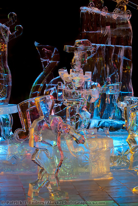 """2009 World Ice Art Championships multi-block competition. Sculpture titled """"Rockin the Night Away"""" by Danny Spangle, Jeff Weston, Jeff DeJong, William Sanduski. The sculpture won 3rd place in the realistic category"""