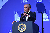 Washington, DC - September 15, 2016:  President Barack Obama speaks to attendees of the Congressional Hispanic Caucus Institute Awards Gala at the Washington Convention Center, September 15, 2016.  (Photo by Don Baxter/Media Images International)