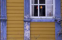 Europe/Norvège/Iles Lofoten/Svolvaer : Détail habitat d'une maison en bois