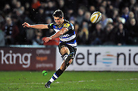 Adam Hastings of Bath United kicks for the posts. Aviva A-League match, between Bath United and Bristol United on December 28, 2015 at the Recreation Ground in Bath, England. Photo by: Patrick Khachfe / Onside Images
