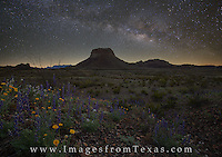 This composite image shows the Milky Way over a patch of bluebonnets on the western slope of Big Bend National Park's Chisos Mountains. The Milky Way was taken a few hours before sunrise, and the bluebonnets were taken about 30 minutes before sunrise when just enough light was available to add a little color to the rugged Texas landscape.