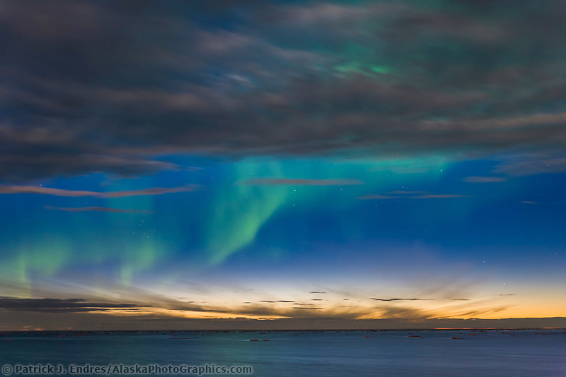 Aurora borealis over the Beaufort Sea, Arctic Ocean, looking north from Barter Island, Kaktovik, in Alaska's high arctic.