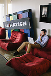 An employee at SB Nation, a part of VOX Media, work at their office in Washington DC.