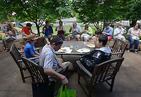 NWA Democrat-Gazette/BEN GOFF @NWABENGOFF<br /> Parishioners have lunch on Sunday June 5, 2016 during a parish picnic after service at St. Paul's Episcopal Church in Fayetteville.