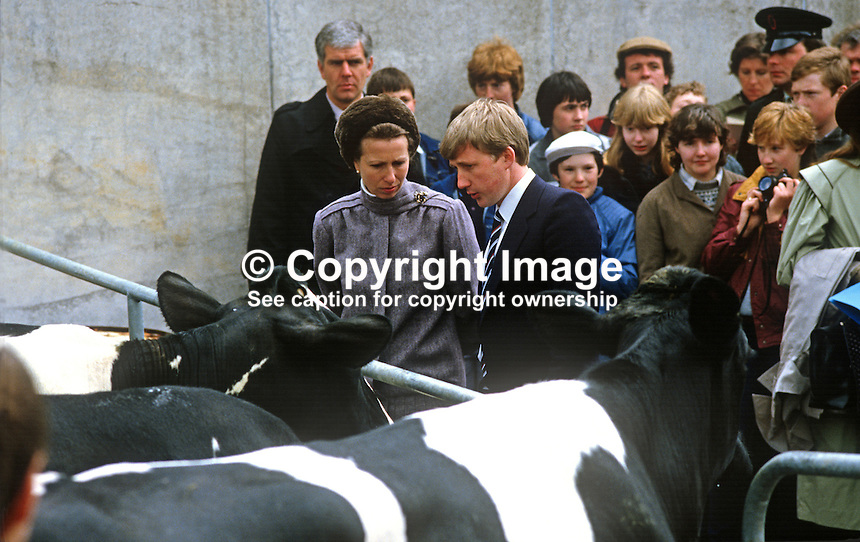Princess Anne at Enniskillen Agricultural College is briefed about dairy cattle by Clarke Black, president, Young Farmers' Clubs of N Ireland. The event was one of several during a May 1985 Royal Visit to N Ireland. 19850503c..Copyright Image from Victor Patterson, 54 Dorchester Park, Belfast, UK, BT9 6RJ..Tel: +44 28 9066 1296.Mob: +44 7802 353836.Voicemail +44 20 8816 7153.Skype: victorpattersonbelfast.Email: victorpatterson@me.com.Email: victorpatterson@ireland.com (back-up)..IMPORTANT: If you wish to use this image or any other of my images please go to www.victorpatterson.com and click on the Terms & Conditions. Then contact me by email or phone with the reference number(s) of the image(s) concerned.