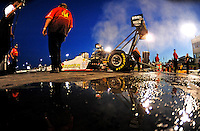 May 29, 2009; Topeka, KS, USA: NHRA top fuel dragster driver Clay Millican prepares to do his burnout during qualifying for the Summer Nationals at Heartland Park Topeka. Mandatory Credit: Mark J. Rebilas-