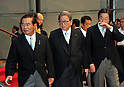 September 2, 2011, Tokyo, Japan - Members of Prime Minister Yoshihiko Noda's Cabinet leave a photo session for a news conference at Kantei, prime minister's official residence, in Tokyo on Friday, September 2, 2011. They are, from left: Kenji Yamaoka, National Public Safety Commission chairman; Shozaburo Jimi, state minister in charge of financial and postal services; and Michihiko Kano; minister of Agriculture, Forestry and Fisheries. (Photo by Natsuki Sakai/AFLO) [3615] -mis-