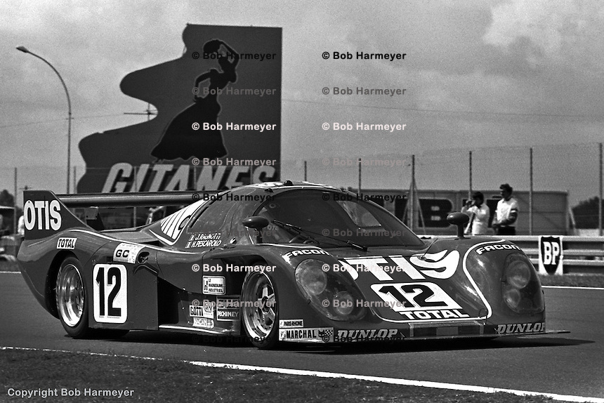 LE MANS, FRANCE: The Rondeau M382 006/Ford Cosworth driven by Jean Rondeau, Jean Ragnotti and Henri Pescarolo is credited with the fastest race lap during the 24 Hours of Le Mans at Circuit de la Sarthe on June 20, 1981, in Le Mans, France.