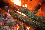 Christmas Eve Vigil Service at St. Sava Serbian Orthodox Church, Jackson, Calif.  Yule Log (badnjak) ceremony. Yule logs on the hearth