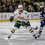 10 February 2017: University of Vermont Catamount Defenseman Corey Moriarty, a Freshman from Estero, FL, in second period action against the University of New Hampshire Wildcats at Gutterson Fieldhouse in Burlington, Vermont. The Catamounts fell to the Wildcats 4-2 in the first game of their 2-game Hockey East Series. Mandatory Credit: Ed Wolfstein Photo *** RAW (NEF) Image File Available ***