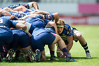 Tom Ellis of Bath Rugby in action at a scrum. European Rugby Challenge Cup Semi Final, between Stade Francais and Bath Rugby on April 23, 2017 at the Stade Jean-Bouin in Paris, France. Photo by: Patrick Khachfe / Onside Images