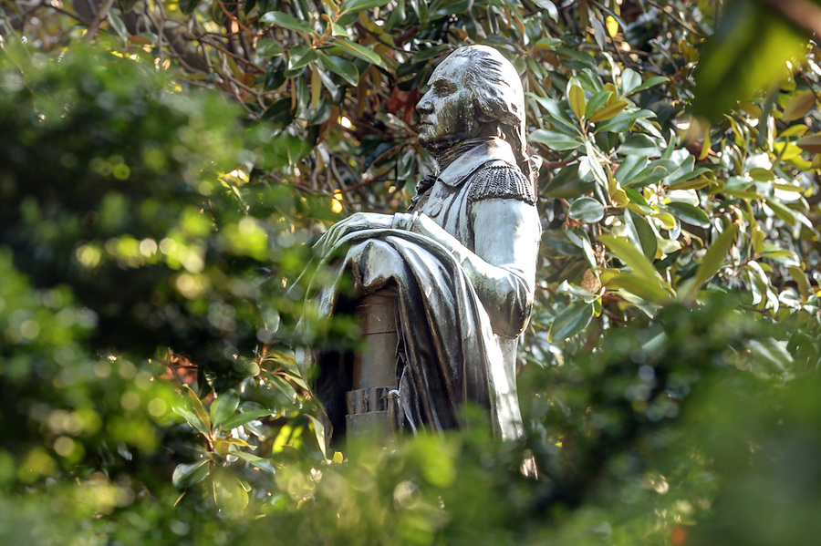 The George Washington historical statue located on grounds at the University of Virginia in Charlottesville, Va. Photo/Andrew Shurtleff