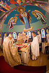 Liturgy service at St. Sava Orthodox Church, Jackson, Calif...Very Reverend Stavrofor Miladin Garich, Father Stephen Tumbas at the altar