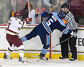 Brian Gibbons (BC - 17), Josh Van Dyk (Maine - 5), Kevin Keenan - The Boston College Eagles defeated the visiting University of Maine Black Bears 4-0 on Friday, November 19, 2010, at Conte Forum in Chestnut Hill, Massachusetts.