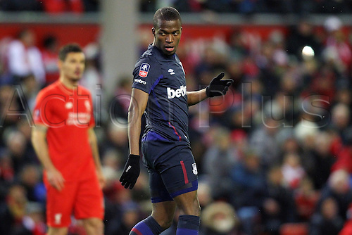 30.01.2016. Anfield, Liverpool, England. Emirates FA Cup 4th Round. Liverpool versus West Ham. Enner Valencia of West Ham United looks back at a chance gone