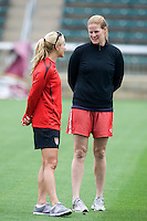 Heather Mitts, Cindy Parlow. The USWNT practice at WakeMed Soccer Park in preparation for their game with Japan.