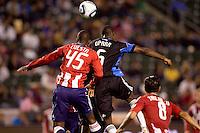 Chivas USA defender Yamith Cuesta (45) battles San Jose Earthquakes defender Ike Opara (6). CD Chivas USA defeated the San Jose Earthquakes 3-2 at Home Depot Center stadium in Carson, California on Saturday April 24, 2010.  .
