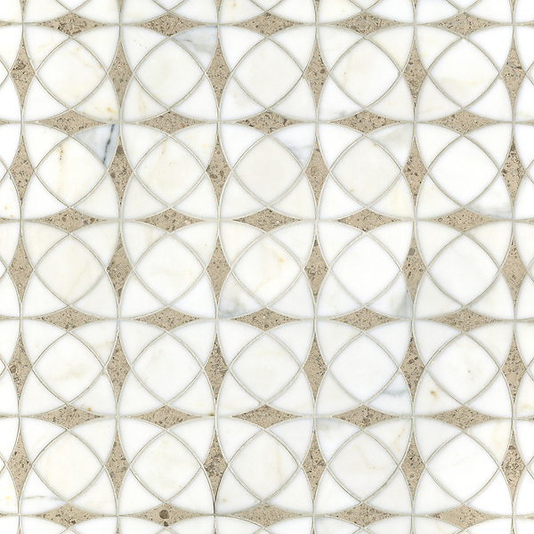 Zazen, a waterjet stone mosaic, shown in polished Calacatta Tia and honed Gascogne Blue, is part of the Miraflores Collection by Paul Schatz for New Ravenna.<br /> <br /> For pricing samples and design help, click here: http://www.newravenna.com/showrooms/