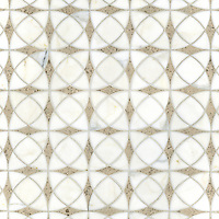 Zazen, a natural stone waterjet  mosaic shown in honed Calacatta Tia and Gascogne Blue, is part of the Miraflores Collection by Paul Schatz for New Ravenna Mosaics.