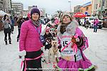 From left, U.S. Senator Lisa Murkowski R-Alaska, visits with Iditarod Trail Sled Dog Race veteran DeeDee Jonrowe prior to the ceremonial start of the 1,000-mile race in Anchorage, Alaska Saturday, March 5, 2016. (AP Photo/Michael Dinneen)