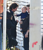Christian Bale plays with baby on movie set - EXCLUSIVE PHOTOS