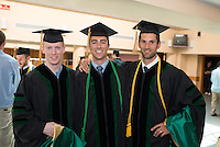 Ryan Smith, left, Michael Maccini, Benjamin King. Class of 2012 commencement.