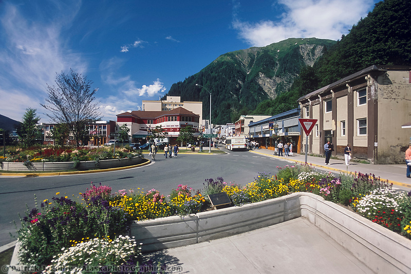 Pedestrians in Alaska's capital city of Juneau located in southeast, Alaska.