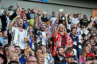 Japan fans in the crowd show their support. Rugby World Cup Pool B match between South Africa and Japan on September 19, 2015 at the Brighton Community Stadium in Brighton, England. Photo by: Patrick Khachfe / Onside Images