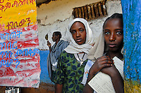 Burbax, Ethiopia, Minzero School- female students are eager and grateful for the new school that Glimmer of Hope will build for them.