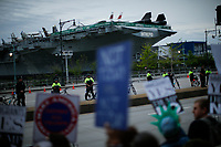 NEW YORK, NY - May 04: NYPD officers stand guard near the USS Intrepid where U.S. president Donald Trump is hosting the visit of Australian Prime Minister Malcolm Turnbull late today after a delay on his schedule on May 4, 2017 in New York City. US President Donald Trump is returning to NYC after taking office in Washington as president,  Photo by VIEWpress/Eduardo MunozAlvarez