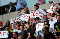 England supporters in the crowd celebrate a try. World Rugby U20 Championship Final between England U20 and Ireland U20 on June 25, 2016 at the AJ Bell Stadium in Manchester, England. Photo by: Patrick Khachfe / Onside Images
