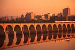 Harrisburg skyline, Susquehanna River, Train and Railroad Bridge Arches