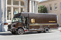 A UPS package truck makes a local delivery in Charleston, South Carolina.