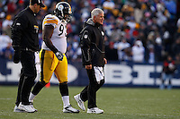 ORCHARD PARK, NY - NOVEMBER 28:  Nick Eason #93 of the Pittsburgh Steelers walks off of the field with an injury during the game against the Buffalo Bills on November 28, 2010 at Ralph Wilson Stadium in Orchard Park, New York.  (Photo by Jared Wickerham/Getty Images)