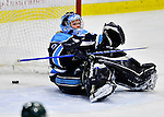 23 November 2011: University of Maine Black Bears' goaltender Brittany Ott, a Junior from St. Clair Shores, MI, gives up a third period goal during action against the University of Vermont Catamounts at Gutterson Fieldhouse in Burlington, Vermont. The Lady Bears defeated the Lady Cats 5-2 in Hockey East play. Mandatory Credit: Ed Wolfstein Photo