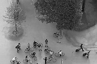 Overhead view of cyclists stopped in the park below the Eiffel Tower, Paris, France